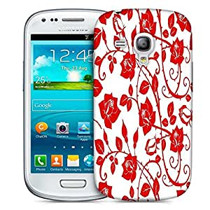 Snoogg Red Roses And Leaves Printed Protective Phone Back Case Cover For Samsung S3 Mini / S III Mini