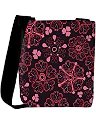 Snoogg Floral Red Designer Womens Carry Around Cross Body Tote Handbag Sling Bags