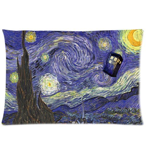 "Find Discount Tardis Doctor Who Starry Night Custom Zippered Pillow Case 20""x30""(two sides..."