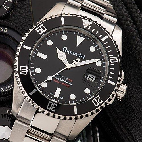 Gigandet Automatik Herren-Armbanduhr Sea Ground Taucheruhr Uhr Datum Analog Edelstahlarmband Schwarz Silber G2-002 2