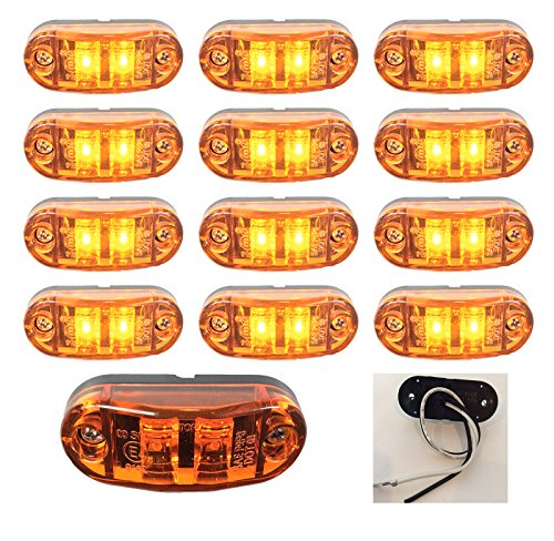 """12 New 2.6""""X1"""" Amber Surface Mount Led Clearance Marker Lights 12V For Trucks Campers Trailers Rvs El-112602A12"""