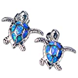 Health and Longevity Sea Turtle Birthstone Jewelry Sterling Silver Created Blue Opal Sea Turtle Earring Pendant Necklace Length 18-20 inch (Earrings) (Color: Blue)