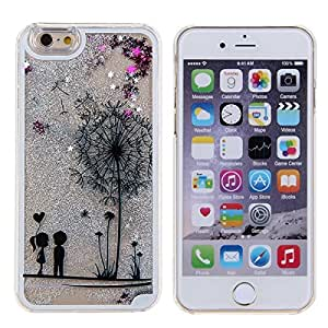 KC iPhone 6 Plus & iPhone 6s Plus (5.5 inch) Back Cover - Lover Liquid Girl Apple Logo Liquid 3D Bling Glitter Creative Flower Print Liquid Floating Sparkle Stars Hard Case For iPhone 6/6s Plus- Silver