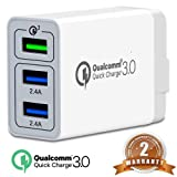 3Port Quick Charge3.0 USB Fast Travel Wall Charger Adapter, QC3.02.0 Smart Ports 30W Travel Wall Fast Charger Adapter Charging Block Plug iPhoneXS/x/8/7 SamsungS9/S8Note8/7LG,iPd,Nexus&More (Color: WHITE)