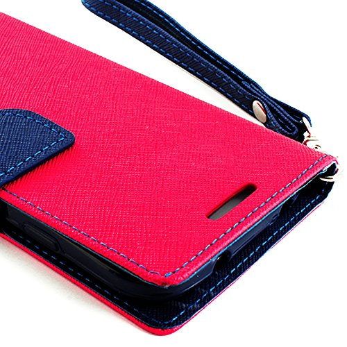 Mylife Rose Pink And Navy Blue {Classic Design} Faux Leather (Card, Cash And Id Holder + Magnetic Closing) Slim Wallet For The All-New Htc One M8 Android Smartphone - Aka, 2Nd Gen Htc One (External Textured Synthetic Leather With Magnetic Clip + Internal