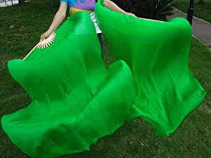 "belly dance silk fan veils 1 pair sturdy green-turquoise-blue 1.5m*0.9m 59/""x35/"""