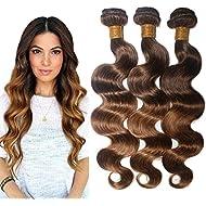 Virgin Brazilian Human Hair Body Wave Remy Hair Extensions Weft Weave 3 Bundles/lot, 300g Total (100g Each) #T4/30 Medium Brown/Medium Auburn (14