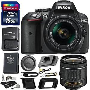 Nikon D5300 Digital SLR Camera + 18-55mm f/3.5-5.6G ED VR AF-P DX NIKKOR Lens, Transcend 16GB, Polaroid Cleaning Kit and Accessory Bundle International Version No Warranty