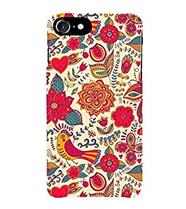 HiFi Designer Phone Back Case Cover Apple iPhone 7 :: Apple iPhone7 ( Flower Bird Colorful Pattern Design Rajasthani )