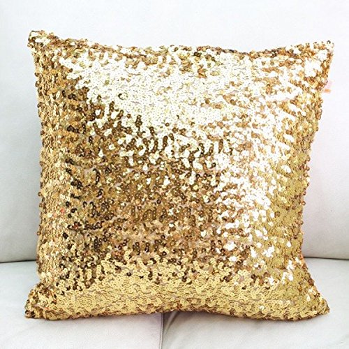 Lowest Price! 18 Inch (45 cm) Europe Luxurious Sequin Pillow Cushion Cover Pillow Case (Gold)