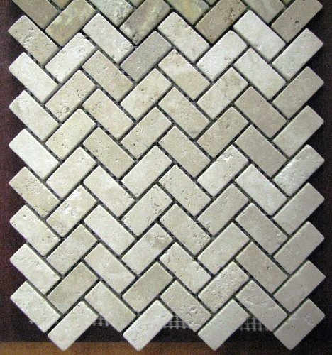 herringbone 1x2 tumble classic beige travertine for