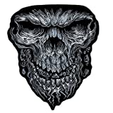 Hot Leathers, GIANT SKULL, High Thread Embroidered Iron-On / Saw-On Rayon XL PATCH - 10