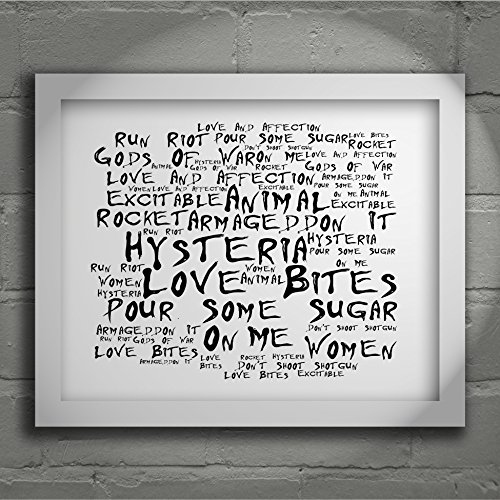 """'Noir Paranoiac'-Stampa artistica, motivo """"DEF LEPPARD-Hysteria, numerati Limited Edition Signed & Porter 25,40 20,32 cm x 8 x (10"""") Album fotografico con scritta"""" """", testo della canzone Mini Poster"""""""