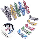 IronBuddy 10 Pack Music Note Clips Music Clips Page Holder Plastic Sheet Clips Book Clips Bookmarks Stationery Clips for Paper (Multicolor Transparent) (Color: Multicolor)