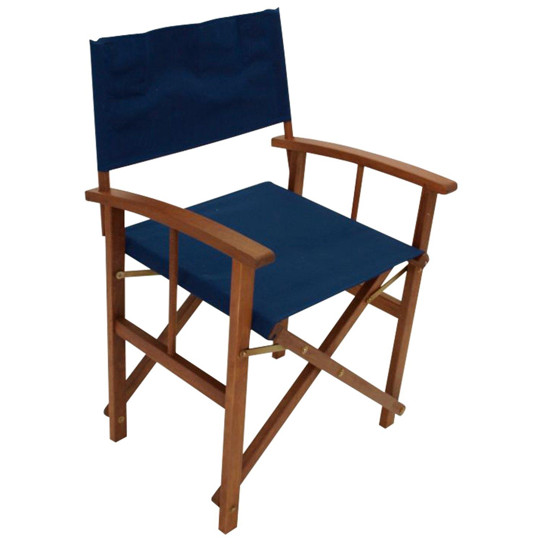2er Set Regiesessel klappbar, Gestell Eukalyptusholz, Bezug dunkelblau, FSC®-zertifiziert