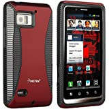 Insten® Hybrid Case Compatible with Motorola Droid Bionic XT875, Black TPU / Red Hard