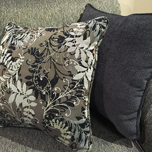 Elmira Pewter Gray Fabric Upholstery Wood Frame Sofa with Loveseat and Pillows