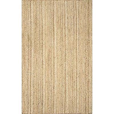 nuLOOM Hand Woven Rigo Jute rug Area Rug, 4-Feet x 6-Feet Oval, Natural