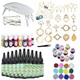 10 Pieces 30ML Crystal Epoxy Resin + UV Led Lamp, 38 Open Back Bezels with 2x5 Meters Adhesive Tapes +13 Pigment+24 Decoration with Tweezer for Crafting Jewelry Necklace Bracelet Making (Tamaño: 300Resin+lamp+Kit A)