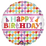 18 Happy Birthday Houndstooth Foil Bal