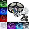 MTZ 5m 16.4ft RGB Color Changing SMD 5050 Led Strip Lighting Kit, 300leds SMD 5050 Waterproof Flexible Led Strip Lights Kit, with 44keys Remote & 12v 5a 60w Power Adapter