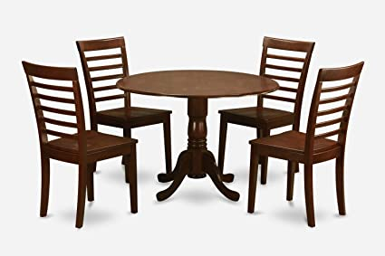 East West Furniture DLML5-MAH-LC 5-Piece Kitchen Table and Chairs Set