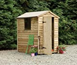 6' x 4' Wooden Garden Shed Single Door Apex Roof Low Maintenance Overlap Wood 15 Year Anti-Rot Guarantee