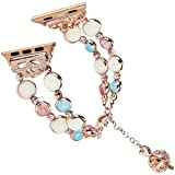 Tomazon Compatible Apple Watch Band 42mm 44mm Series 4/3/2/1, Unique Handmade Luminous Pearl iWatch Bracelet Link Adjustable Clasp Wristband with Perfume Storage Pendant for Women Girl - Rose Gold (Color: Night Pearl Rose Gold, Tamaño: 42mm/44mm)