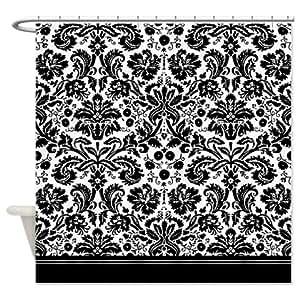 Amazon com black and white damask shower curtain
