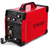 SUNGOLDPOWER 200Amp MIG MAG ARC MMA Stick DC Welder 110/220V Dual Voltage IGBT Inverter 200A Aluminum Welding Soldering Machine Gas Shielded/Gasless Flux Cored Wire Solid Core Wire Welding Equipment (Color: Red)