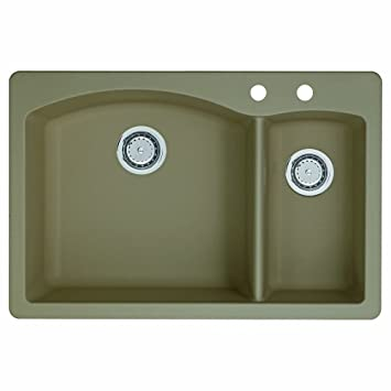 Blanco 441282-2 Diamond 2-Hole Double-Basin Drop-In Granite Kitchen Sink, Truffle