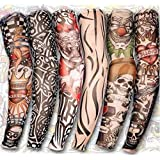 Wowlife 6Pcs Set Body Art Arm Stockings Slip Accessories Fake Temporary Tattoo Sleeves, Tiger, Crown Heart, Skull, Tribal Shape