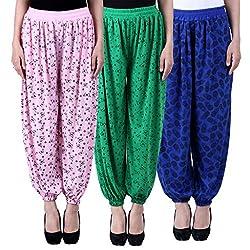 NumBrave Printed Viscose Light pink & Green & Blue Harem Pants (Pack of 3)