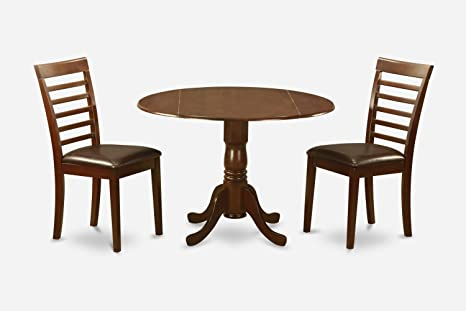 East West Furniture DLML3-MAH-LC 3-Piece Round Kitchen Table and 2 Chairs Set