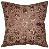 Hand Art Mirror Work Design Vintage Embroidery Cotton Single Cushion Cover Mother's Day Gift 24 X 24 Inches