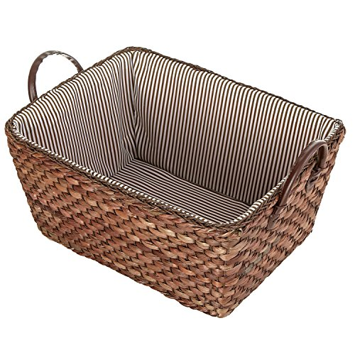 MyGift Woven Corn Leaf Basket, Fabric Lined Double Handle Storage Bin, Brown (Fabric With Corn Design compare prices)