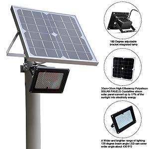 Sunwebcam 120 LED Solar Flood Light 20W Outdoor Security Light 1200 Lumen IP65 Waterproof with Auto On/Off Sensor &Remote Time/Brightness Control Bonus Bracket for Lawn Garden Landscape Shed (Color: Black)