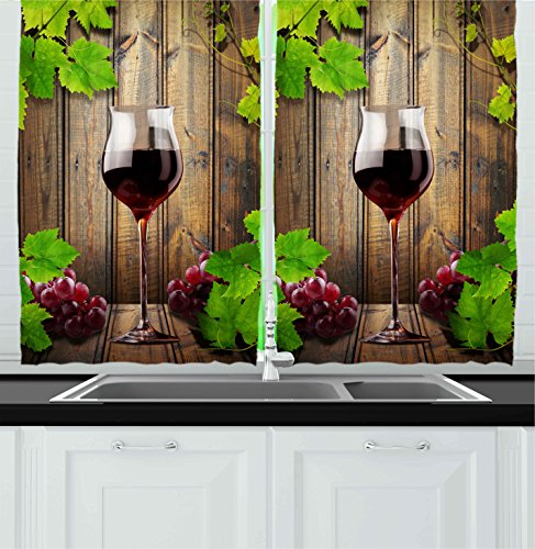 Ambesonne Kitchen Decor Collection, Wine Glass Grapes Rustic Wood Kitchenware Home and Cafe Interior Art Design, Window Treatments for Kitchen Curtains 2 Panels, 55X39 Inches, Brown Green Burgundy (Grapes Kitchen Accessories compare prices)