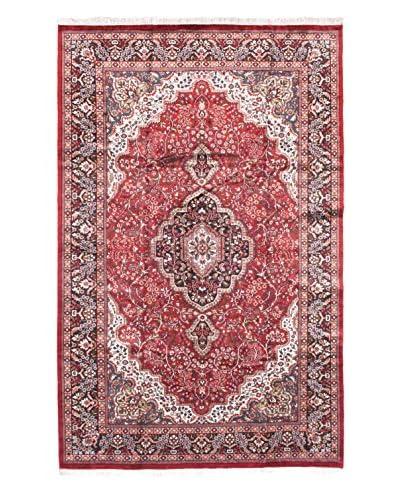 Hand-Knotted Kashmir Kerman Silk Rug, Dark Red, 6' x 9' 6