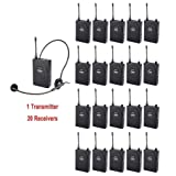 EXMAX UHF-938 UHF Acoustic Transmission Wireless Headset Microphone Audio Tour Guide System 433MHz for Church Translation Teaching Travel Simultaneous Interpretation(1 Transmitter and 20 Receivers)