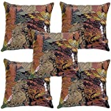 Idrape Rexin 5 Piece Cushion Cover Set- Multicolor, 40 Cm X 40 Cm