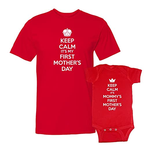 We Match! Keep Calm Mommy's First Mother's Day T-Shirt & Bodysuit Matching Set