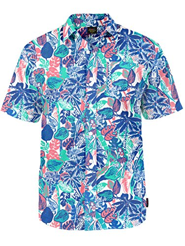 Men's Hula Girl Hawaiian Shirt - X80 Modern Fit Tropical Shirt: Large (80s Clothing For Men)