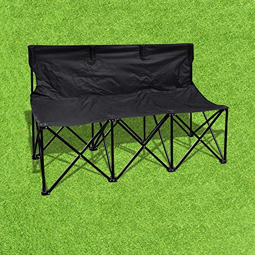 BLACK Folding Portable Team Sports carrybag Sideline Bench 3 Seater Outdoor Waterproof (3 Person Folding Sports Chair compare prices)