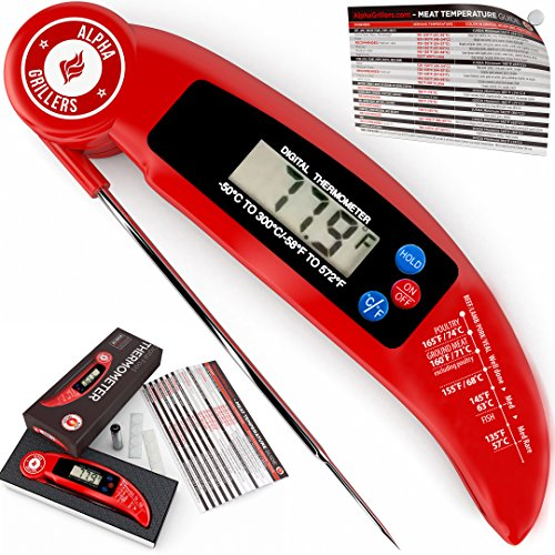 Instant Read Meat Thermometer For Grill And Cooking. UPGRADED MODEL NOW WITH MAGNET AND CALIBRATION FEATURE. Best Ultra Fast Digital Kitchen Probe. Includes Internal BBQ Meat Temperature Guide