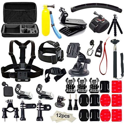 Soft Digits 50 in 1 Kit di Accessori per GoPro Hero 5 4 3+ 3 2 1 Action Camera Accessorio per SJCAM SJ4000 5000 6000 7000 Xiaomi Yi-Polipo Treppiedi+Manico Galleggiante+360 Gradi Rotazione Wrist Strap+Head Strap per Sport all'aperto