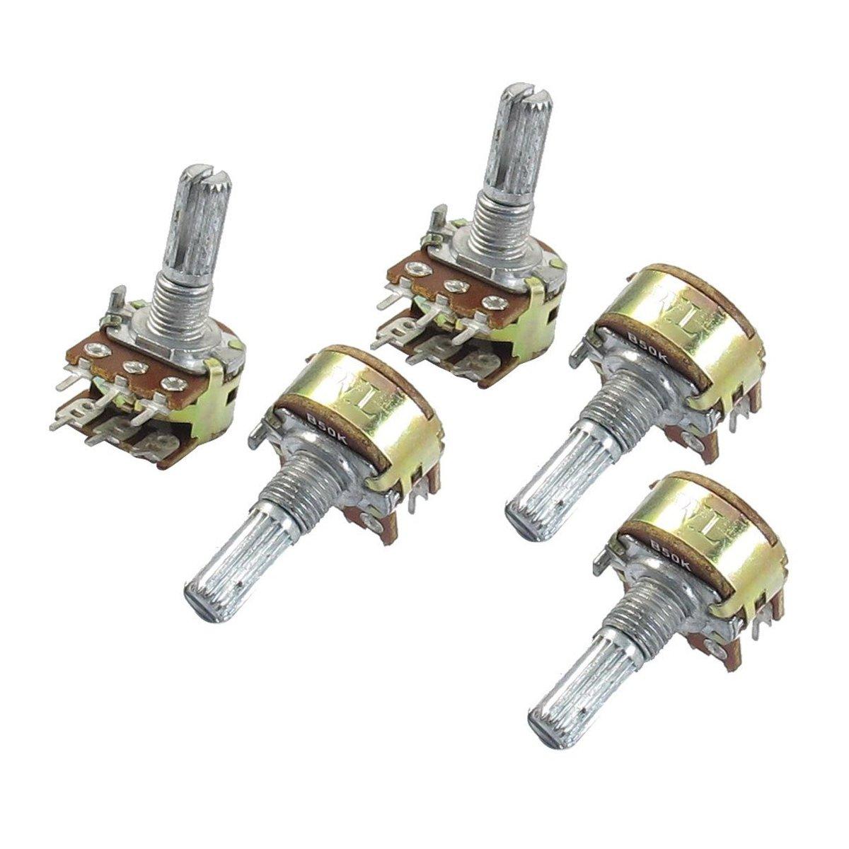 SODIAL(R) 5 Pcs B50K 50K ohm 6 Pins Split Shaft Rotary Linear Dual Taper Potentiometers 5pcs b1m 13mm knurled shaft rotary single linear taper potentiometers