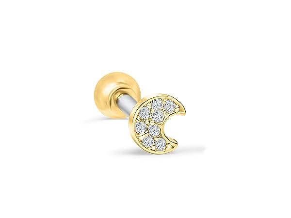 ONDAISY ONDAISY 14K Gold Plated Half Crescent Sailor Luna Moon Ear Barbell Ball Stud Earring Piercing