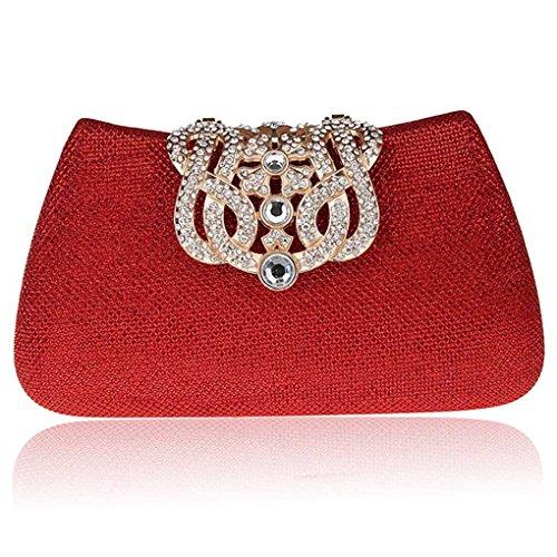 KAXIDY Donna Pochette Borsa Sacchetto Borsetta Da Sera Borsa Diamante Portafoglio Frizioni (Rosso)