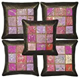 Traditional Handmade Zari Embroidery Silk Cushion Cover 16 X 16 Inches Set 5 Pcs - B00JGOVL5E